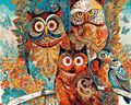 Picture of Retro Owl Family