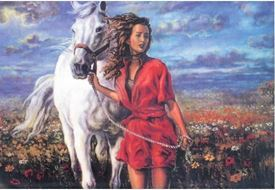Picture of Girl with White Horse