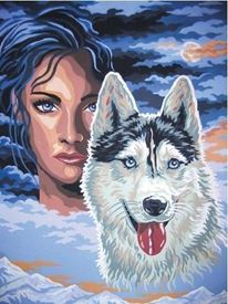 Picture of Lady and her Wolf