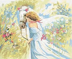 Picture of Lady and White Horse