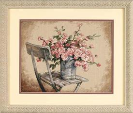 Picture of Roses on White Chair